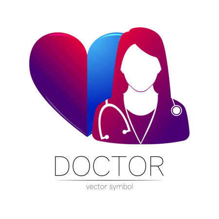 Female doctor with heart vector logotype. Medicine identity and concept. Logo for clinic, medical, pharmacy, online chat, business, cardiology and health care. Silhouette in violet gradient color.