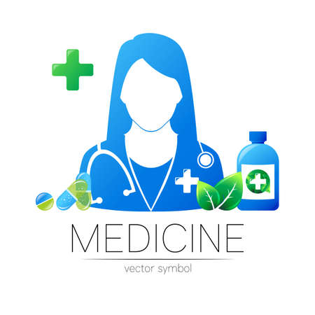 Female doctor and pill capsule with leaf, cross, bottle, tablet vector logotype. Medicine identity and concept. Logo for clinic, medical, pharmacy, business, health care. Silhouette in blue color. 일러스트