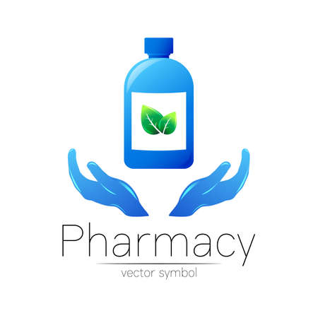 Pharmacy vector symbol with blue bottle and leaf on 2 hands for pharmacist, pharma store, doctor and medicine. Modern design vector logo on white background. Pharmaceutical icon logotype . Health. 일러스트