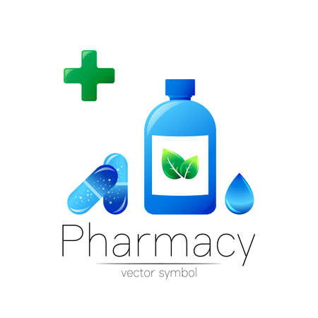 Pharmacy vector symbol with blue bottle and cross, green leaf and drop, pill capsule for pharmacist, pharma store, doctor and medicine. Modern design vector logo on white. Pharmaceutical icon logotype.