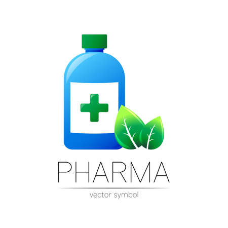 Pharmacy vector symbol with blue bottle and cross, green leaf for pharmacist, pharma store, doctor and medicine. Modern design vector logo on white background. Pharmaceutical icon logotype . Health.
