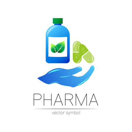 Pharmacy vector symbol with blue bottle and green leaf, pill capsule on hand for pharmacist, pharma store, doctor and medicine. Modern design logo on white background. Pharmaceutical icon logotype