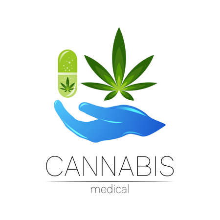 Cannabis in the tablet pill capsule with human hand vector logotype for medicine and doctor. Medical marijuana symbol. Pharmaceuticals with plant and leaf for health. Concept sign of green herb