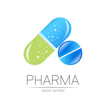 Pharmacy vector symbol for pharmacist, pharma store, doctor and medicine. Modern design vector logo on white background. Pharmaceutical blue green icon logotype tablet pill and capsule. People health.