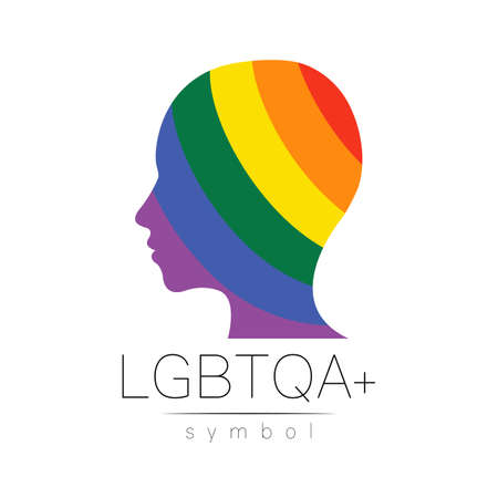 LGBTQA logo symbol. Pride flag background. Icon for gay, lesbian, bisexual, transsexual, queer and allies person. Can be use for sign activism, psychology or counseling.