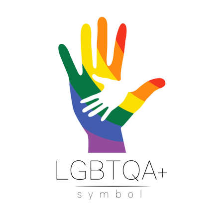 LGBTQA icon symbol. Pride flag background. Icon for gay, lesbian, bisexual, transsexual, queer and allies person. Can be use for sign activism, psychology or counseling. 일러스트