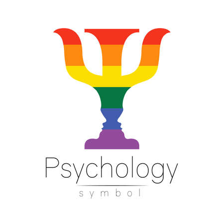 psychology LGBTQA symbol. Pride flag background. Icon for gay, lesbian, bisexual, transsexual, queer and allies person. Can be use for sign activism or counseling. LGBT isolated on white. 일러스트