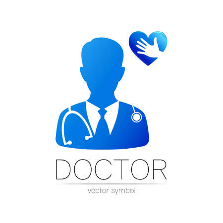 Doctor icon with heart and hand in blue color. Silhouette medical cardiologist man.