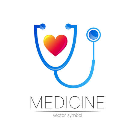 Stethoscope and heart icon in blue color. Medical symbol for doctor, clinic, hospital and diagnostic. Modern concept for icon or identity style. Sign of health. Isolated on white background