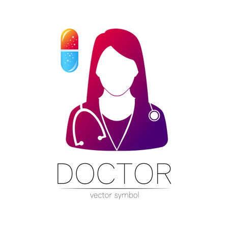 Female doctor and pill capsule icon. Medicine identity and concept. 일러스트