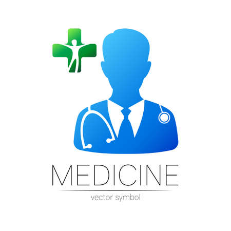 Doctor with cross vector logotype in blue and green color. Silhouette medical man with cross. Logo for clinic, hospital, health, medicine. Concept, template for web, identity modern style on white 일러스트