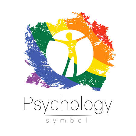 Modern man logo Sign of Psychology. Human in a circle. Creative logotype style. Icon in vector. Design concept. Brand company. Rainbow color isolated on white. Symbol for web, print card, LGBT flag