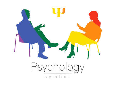 The psychologist and the client. Psychotherapy. Psycho therapeutic session. Psychological counseling. Man woman talking while sitting. Silhouette Rainbow color profile. Modern symbol logo Concept lgbt 일러스트