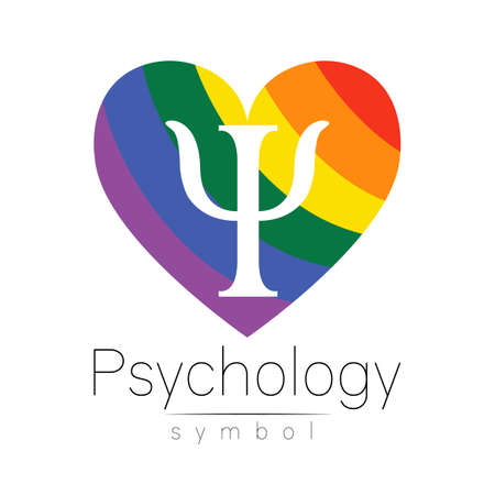 Modern logotype heart sign of Psychology. Letter Psi. . Creative style in vector. Design concept. Rainbow color isolated on white background. Symbol for web, print, card. LGBT flag