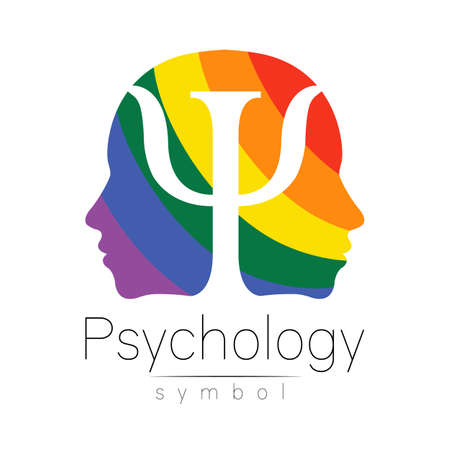 Modern head logo sign of Psychology. Profile Human. Letter Psi. Creative style. Symbol in vector. Rainbow color isolated on white background. Icon for web. Logotype