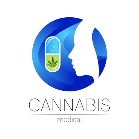 Cannabis in the tablet pill capsule vector logotype for medicine and doctor. Medical marijuana symbol. Pharmaceuticals with plant and leaf for health. . Profile human silhouette head in blue circle 일러스트