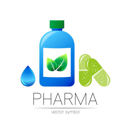 Pharmacy vector symbol with blue bottle, green leaf and drop, pill capsule for pharmacist, pharma store, doctor and medicine. Modern design vector logo on white. Pharmaceutical icon logotype health