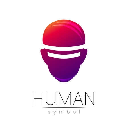 Vector symbol of human VR head. Person face. Red violet color isolated on white. Concept sign for business, science, psychology, medicine, technology. Creative sign design Man silhouette. Modern logo 일러스트