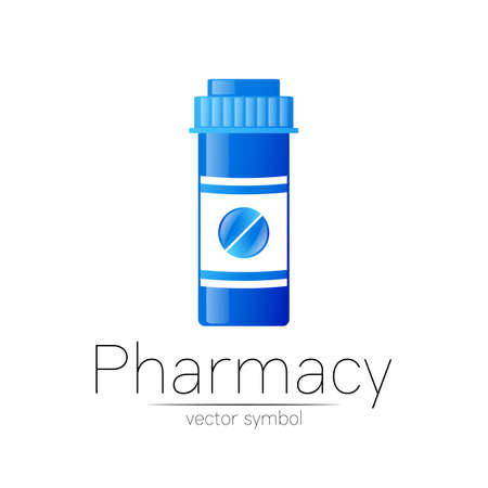 Pharmacy vector symbol with blue pill bottle and tablet for pharmacist, pharma store, doctor and medicine. Modern design vector logo on white background. Pharmaceutical icon logotype . Health