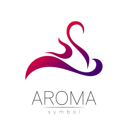 Aroma creative art vector symbol in gradiend. Perfume element, smoke cigarette hot, vapor and cloud icon. Modern design element of logo for website or app, business, store, shop.