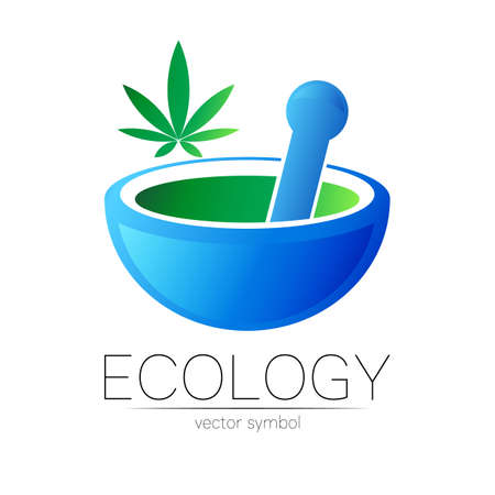Mortar and pestle vector symbol with cannabis. Logo of nature herb marijuana illustration. Concept for ecology, eco, organic, medicine and herb therapy product. Alternative medical logotype business.