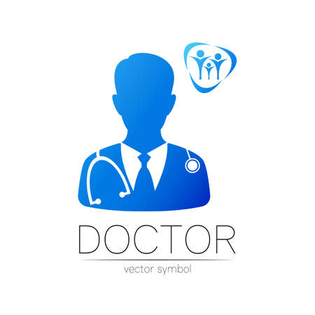 Family Doctor vector logotype in blue color. Silhouette medical man. Logo for clinic, hospital, health, medicine and business. Concept isolated on white background. Template for web, identity style.