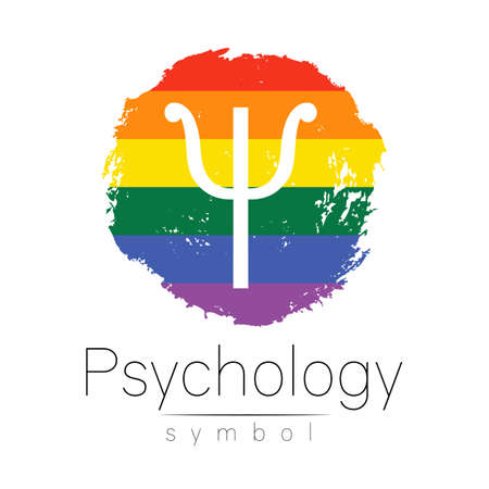 Modern logo of Psychology. Psi. Creative style. Logotype in vector. Design concept. Brand company. Rainbow color blot and letter on white. Symbol for LGBT, web, print, card, flyer. Brush stroke