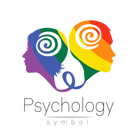 Modern logo head with man and woman, sign of Psychology. Profile Human. Creative style logotype. Symbol in vector. Design concept. Brand company. Rainbow color isolated on white . Icon of family