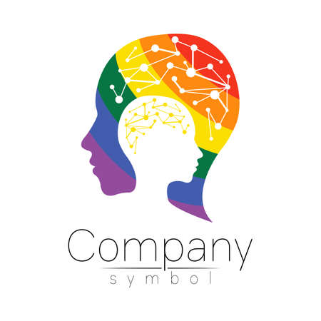 Vector logotype symbol of human head. Profile face logo. Rainbow color isolated on white . Concept sign for business, science, psychology, medicine, LGBT. Creative sign design Man silhouette and brain