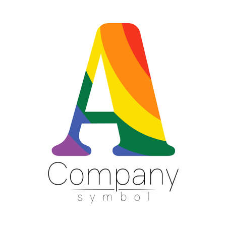 Modern logo . Creative style. Logotype in vector. Design concept. Brand company. Rainbow bright puzzle color letter A on white background. Symbol for web, print, card, LGBT. 스톡 콘텐츠 - 151601813