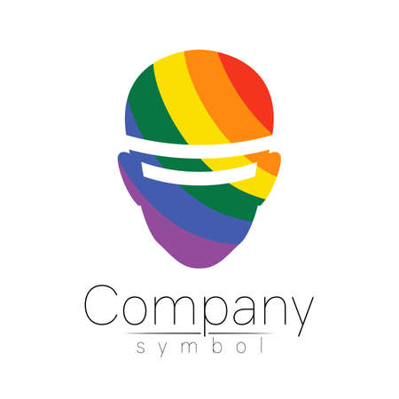 Vector logotype symbol of human head. Virtual reality logo. Person face. Rainbow color isolated on white. Concept sign for business, science, psychology, medicine, VR, technology, LGBT. Creative 일러스트