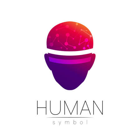 Vector symbol of human head. Person face. Red violet color isolated on white. Concept sign for business, science, psychology, medicine, technology, VR. Creative sign design Man silhouette. Modern logo