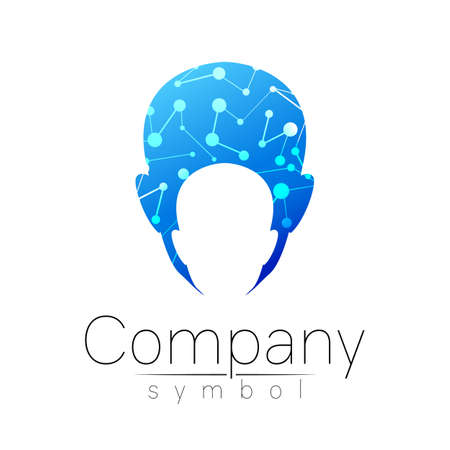 Vector symbol of human head. Person face. Blue color isolated on white. Concept sign for business, science, psychology, medicine, technology. Creative sign design Man silhouette. Modern logo