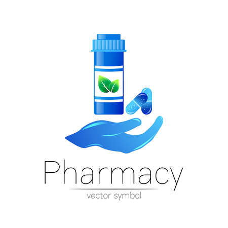 Pharmacy vector symbol with blue pill bottle in hand and tablet for pharmacist, pharma store, doctor and medicine. Modern design logo on white background. Pharmaceutical icon logotype . Health