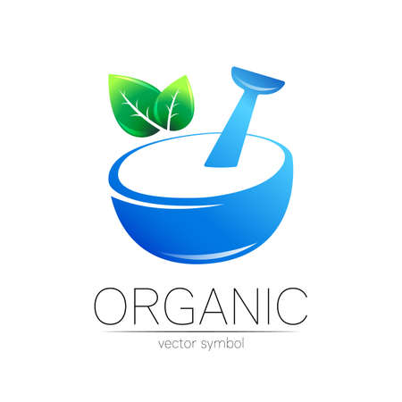Vector mortar and pestle blue symbol logo with green leaf. Ecology icon concept for medicine, vegetarian, therapy, pharmacology and business. Organic sign illustration. Modern logotype or label.