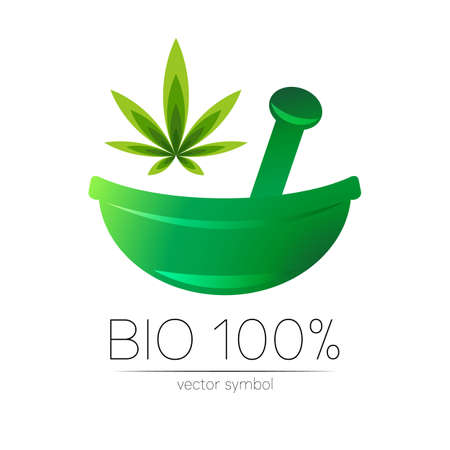 Green cannabis herbal bowl vector logotype. Concept symbol for medical, clinic, pharmacy business or shop. Nature marijuana design with leaf element. Creative ECO label or logo. Herbal therapy.