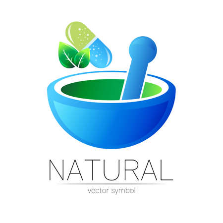 Mortar and pestle vector symbol with pill capsule and leaf. Logo of nature herb illustration. Concept for ecology, eco, organic, medicine and herb therapy product. Alternative medical logotype.