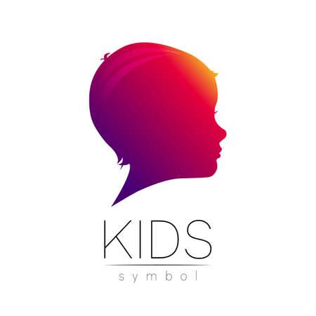 Child violet icon. Silhouette profile human head.
