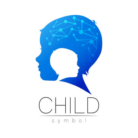 Child blue icon with brain. Silhouette profile human head.