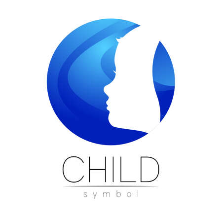 Child icon in blue circle. Silhouette profile human head. 스톡 콘텐츠 - 151997998