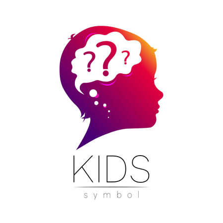 Child violet icon with brain and question. Silhouette profile human head.