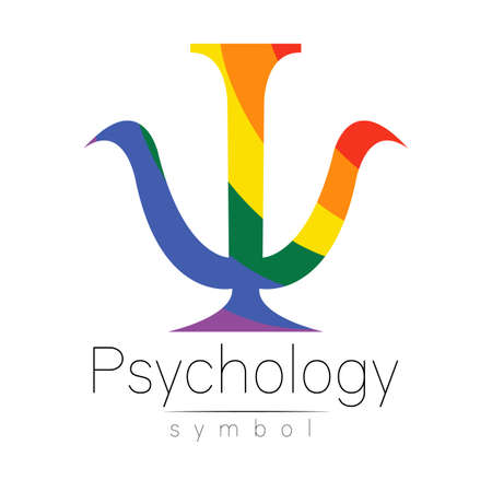 Modern icon of Psychology. Design concept. Brand company. Rainbow color letter on white background. Symbol for web, print, card, flyer. 스톡 콘텐츠 - 151997999
