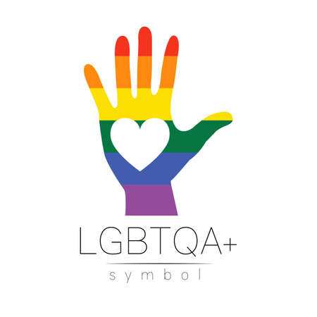 LGBTQA logo symbol. Pride flag background. Icon for gay, lesbian, bisexual, transsexual, queer and allies person. 스톡 콘텐츠 - 151998000