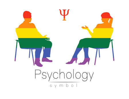The psychologist and the client. Psychotherapy session. Psychological counseling. Man and woman silhouette, talking while sitting. Rainbow LGBT color. Isolated on white background 일러스트