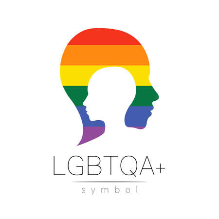 LGBTQA symbol. Pride flag background. Icon for gay, lesbian, bisexual, transsexual, queer and allies person. Can be use for sign activism, psychology or counseling. 일러스트