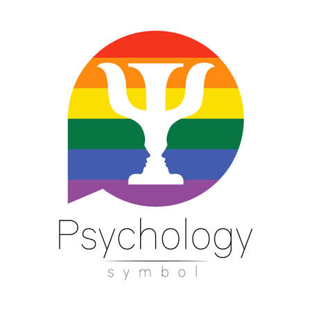 Modern icon of Psychology. Psi in circle. Creative style. Design concept. Brand company. Rainbow color letter on white background. Symbol for web, print, card, flyer. 스톡 콘텐츠 - 151998002