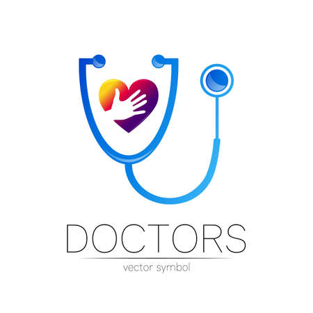 Stethoscope and heart with human hand icon in blue color. Medical symbol for doctor, clinic, hospital and diagnostic. 일러스트