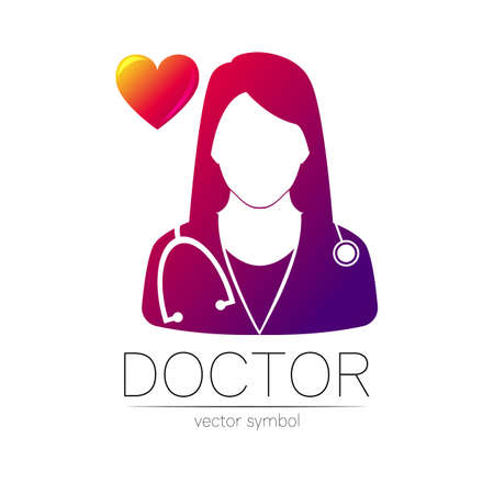 Female doctor and red heart icon. Medicine identity and concept. 스톡 콘텐츠 - 151998006
