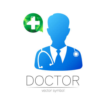 Doctor with cross icon in blue, green color. Silhouette medical man with cross. 일러스트
