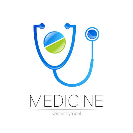 Stethoscope, tablet icon in blue color. Medical symbol for doctor, clinic, hospital and diagnostic.